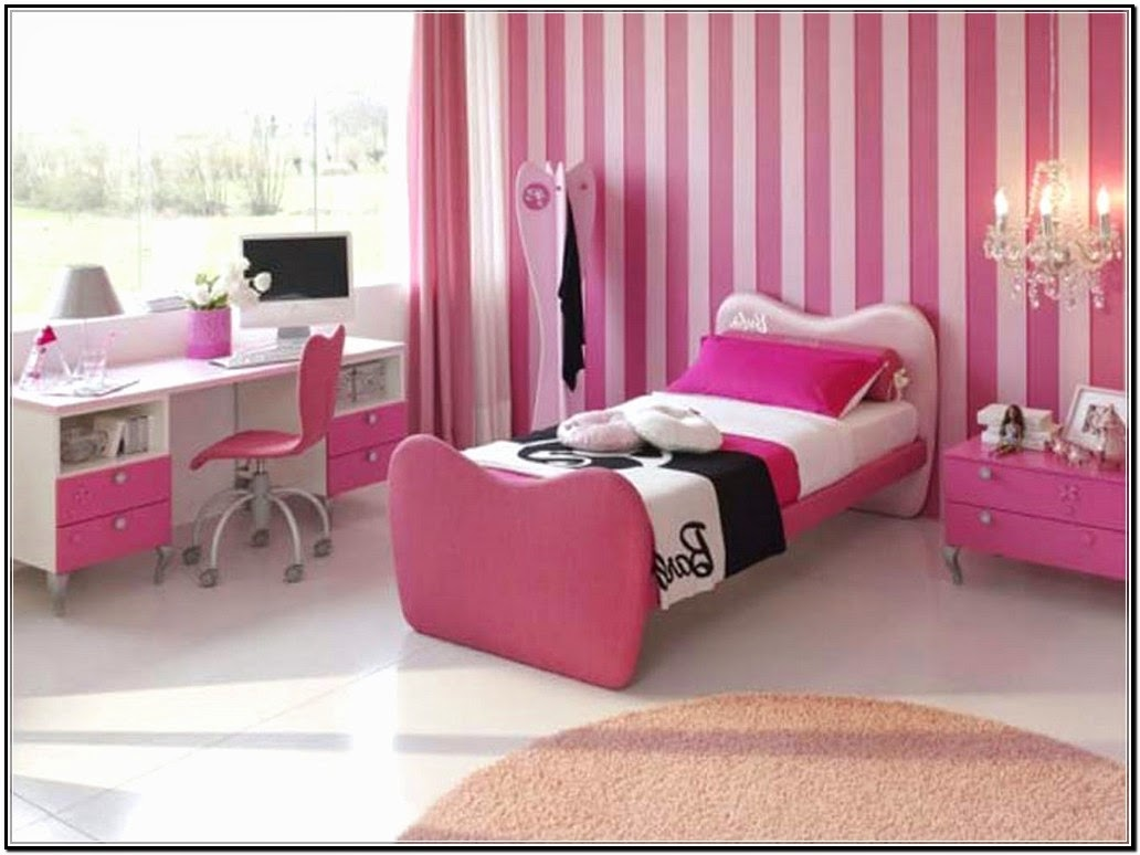 Kid Bedroom, : Delightful Pink Girl Bedroom Design Ideas With Pink Stripe Bedroom Wall Along