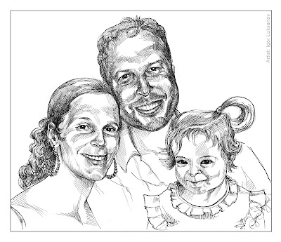 gift family portrait (wife, husband, daughter), ink portrait