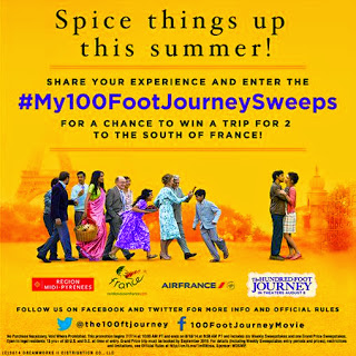 Head on over to THE HUNDRED-FOOT JOURNEY Facebook page to enter the #My100FootJourneySweeps for a chance to win a trip for 2 to the south of France!