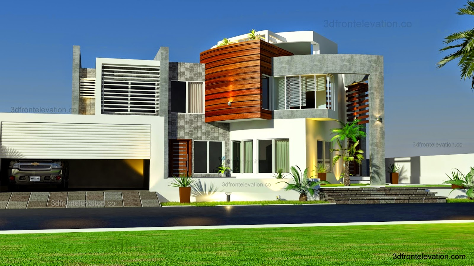 Oman modern contemporary villa 3d front elevation 2015