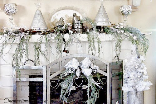 White and Silver Vintage Christmas Mantel at One More Time Events.com