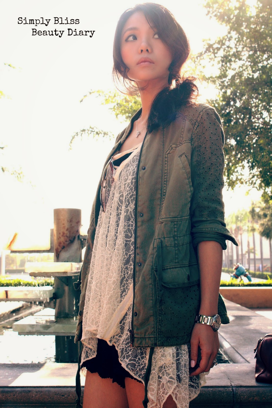 anthropologie Marais Anorak military jacket with urban outfitter lace cami