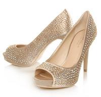 Carvela Gold Diamante Peeptoe Court Shoes