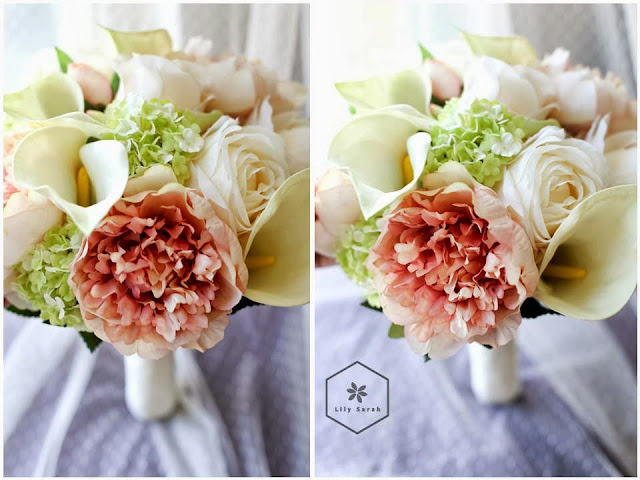 Peony, calla lily and rose silk flower bouquet by Lily Sarah
