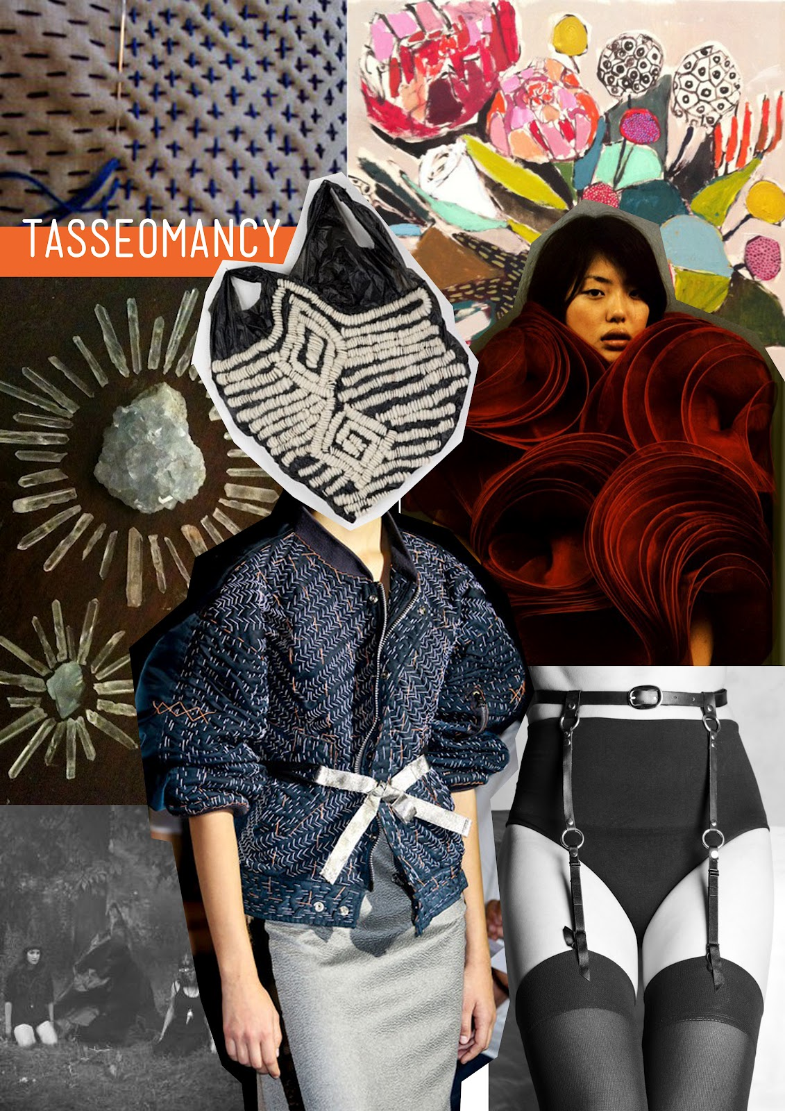 Tasseomancy, crystals, witchcraft inspiration mood board.