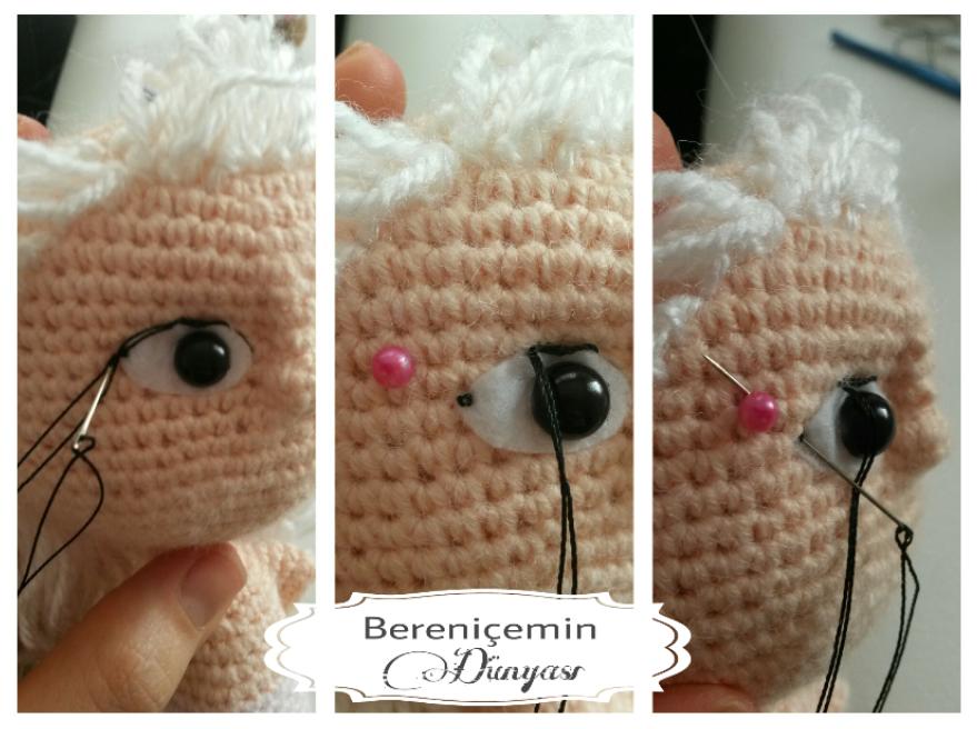 Amigurumi Bebekte Saç Yapımı : Bd hook amigurumi göz yapımı amigurumi make the eyes göz kaş