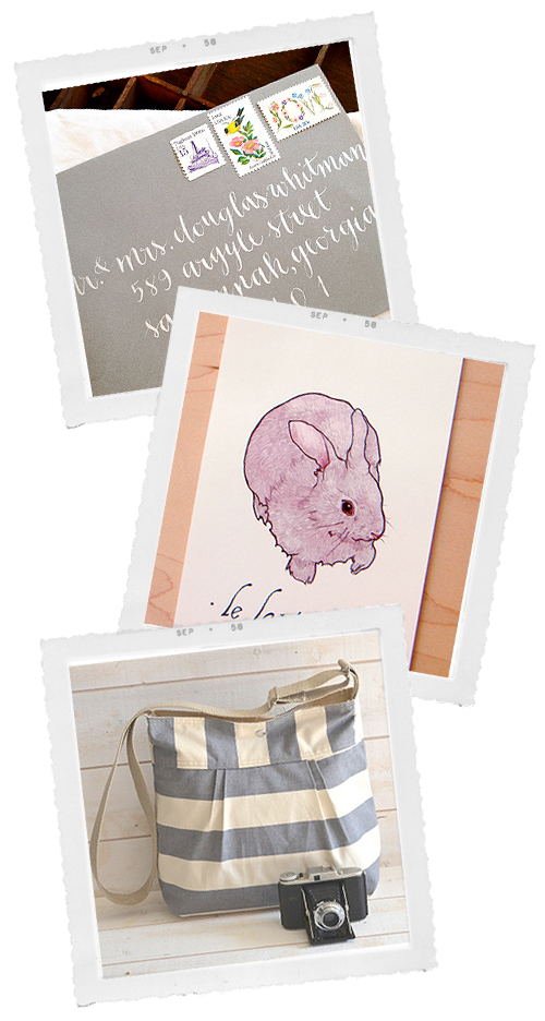 calligraphy a pink rabbit and a nautical striped bag