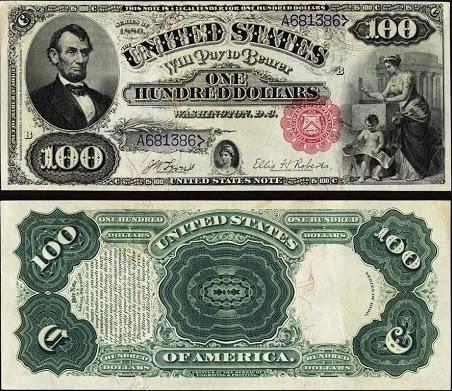 100 долларов США с Авраамом Линкольном,  обновлённый дизайн, 1869