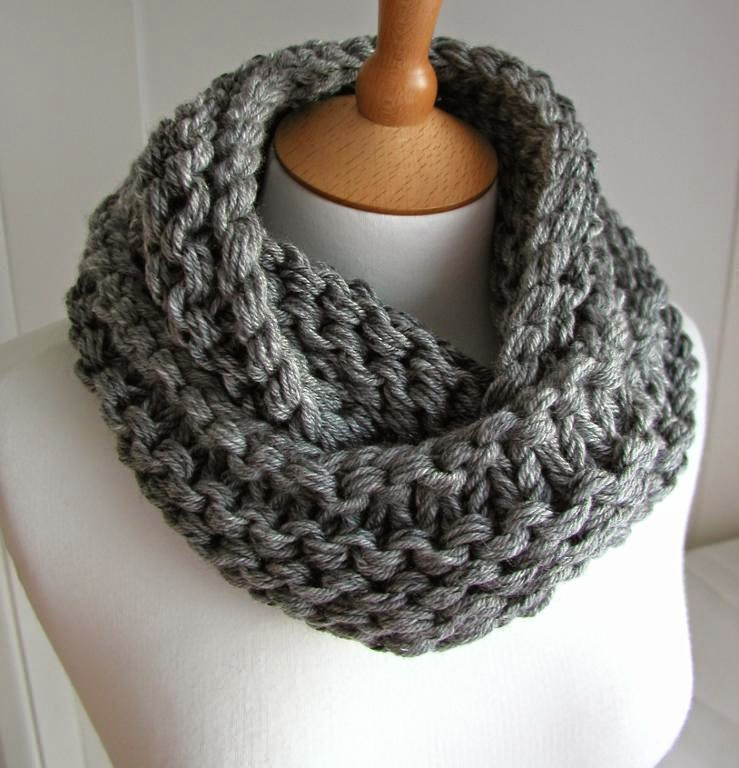 image Free knitting pattern chunky scarf in steel  knit on circular needles
