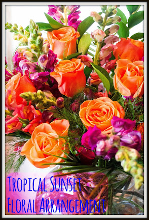 Flower arrangement, blooms, tropical, gorgeous, beautiful, beachy, beach, colorful, fragrant, animal safe, non-toxic
