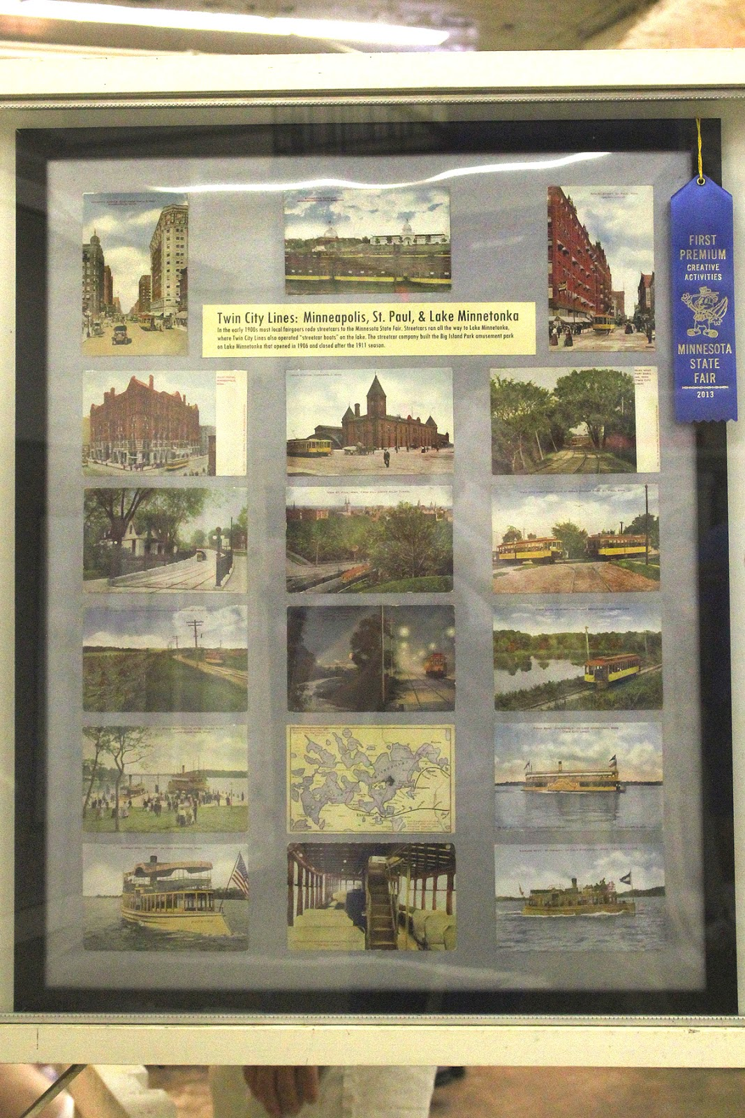 i entered some post card frames in the minnesota state fair for the first time this year i entered a frame of twin city lines postcards by v o hammon in