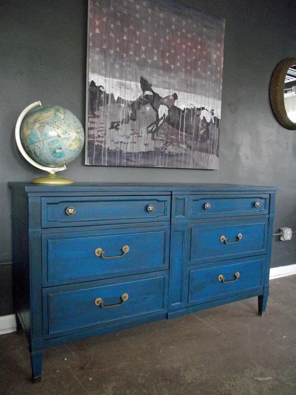Vintage Ground Vintage Distressed Mediterranean Blue Dresser Buffet