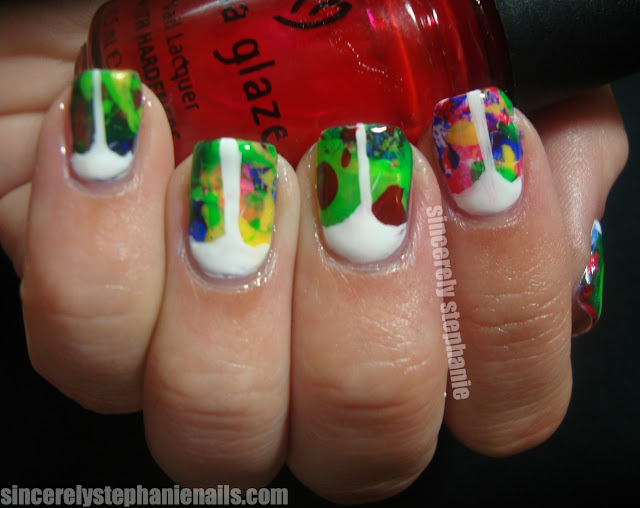 splatter v-gap nail art