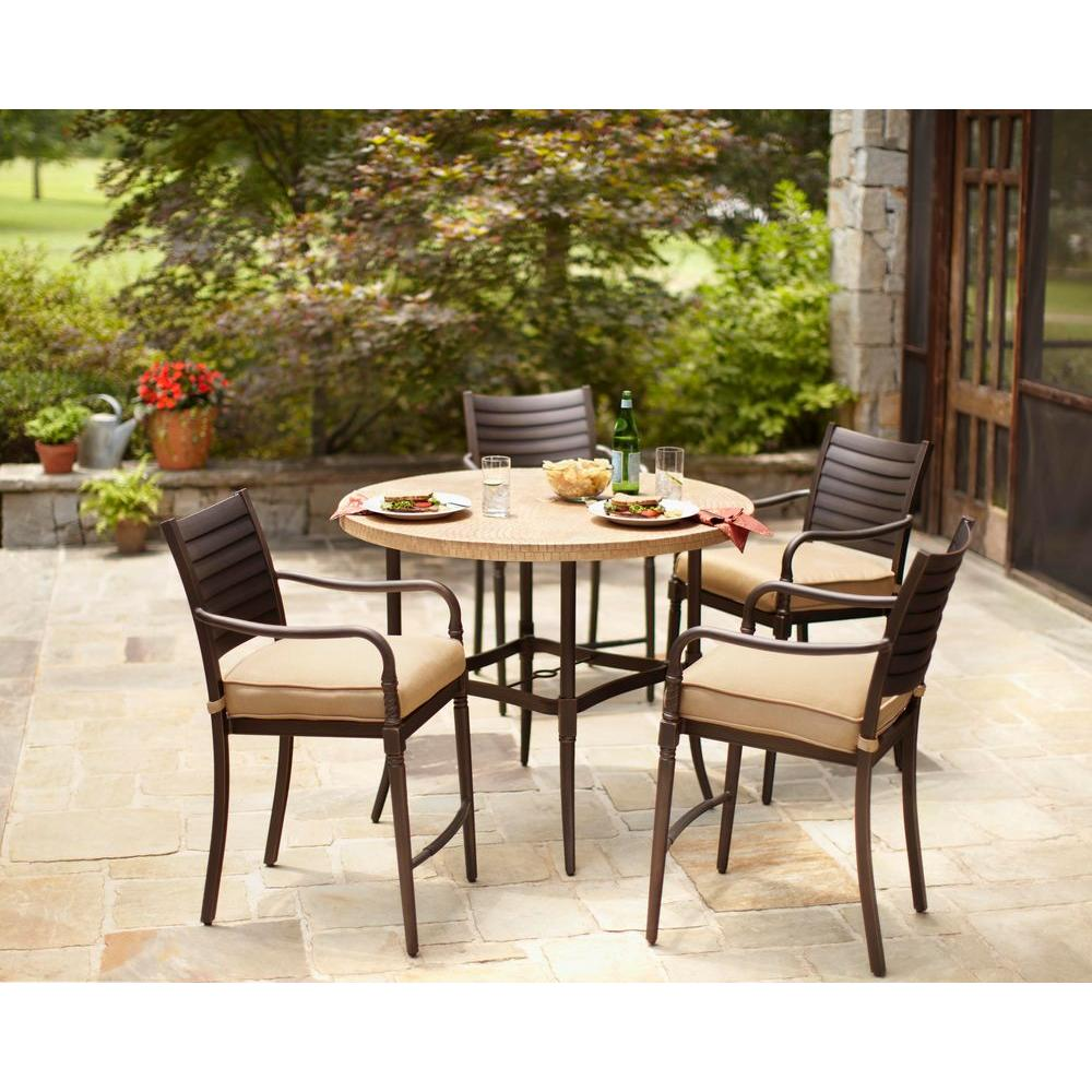 Patio Dining Clearance Hampton Bay 5 Pc Patio Dining Set 74 Marwood Accent Patio Table 12