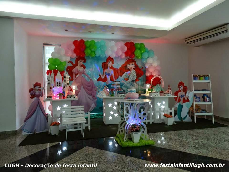 Tema Ariel para festa de aniversário infantil - decoração de festa