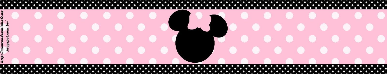 Rótulo para bala de goma gomets Minnie rosa e preto