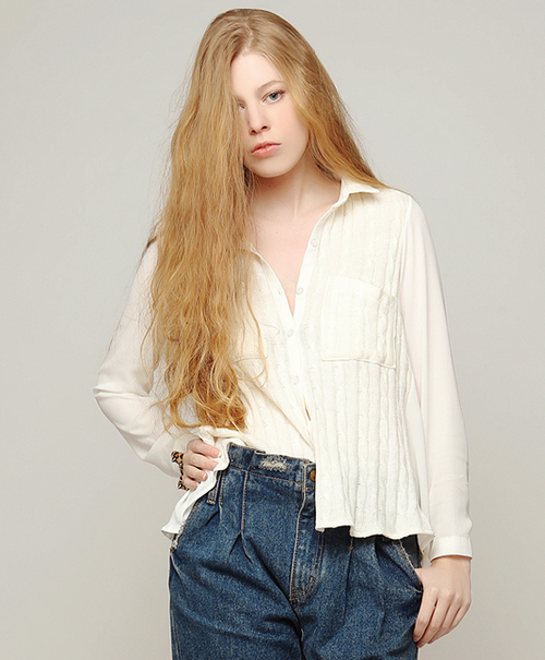 Knit Patched Blouse