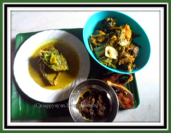hilsa feast : hilsa fish fry, fish oil fry, pui saag matha diye(malabar spinach with hilsa fish head) and sorshe ilish(hilsa fish in mustard gravy)