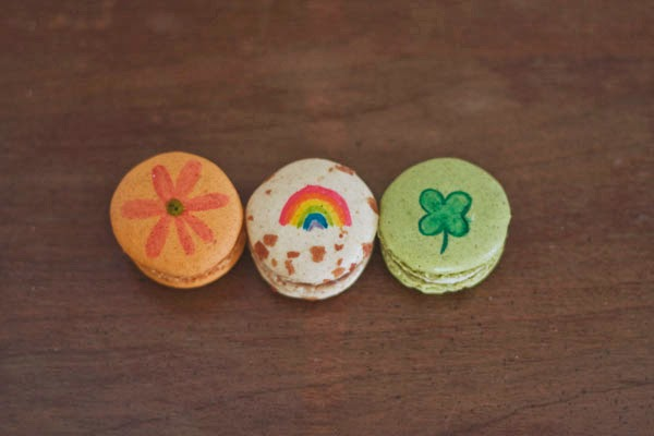 St. Patrick' Day Watercolor painted macarons