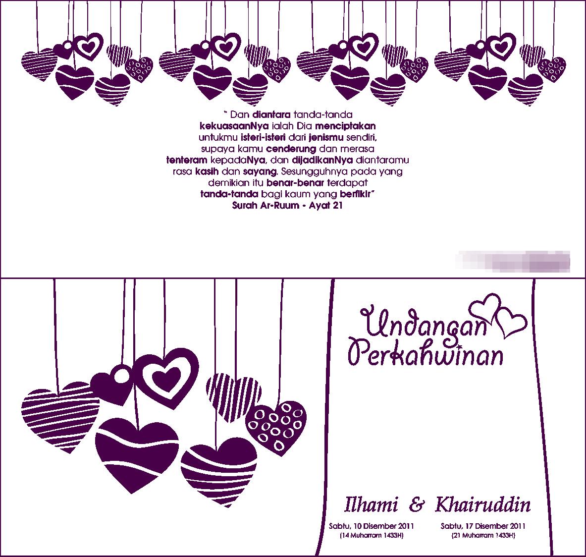 yang ini pula kad undangan perkahwinan kami. dni yang pilih design ni ...
