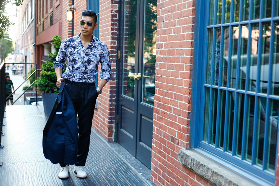 Levitate Style Tux & Floral NYFWM | Express Tuxedo paired with Floral Shirt, GQ LG G4