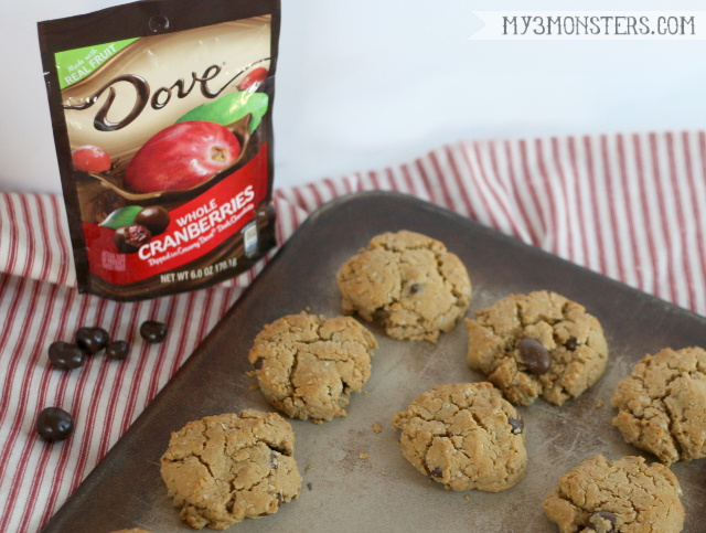 Peanut Butter and Dove Cranberry Cookies at my3monsters.com