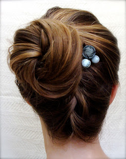 blueberry and gray sky colored button bobby pins