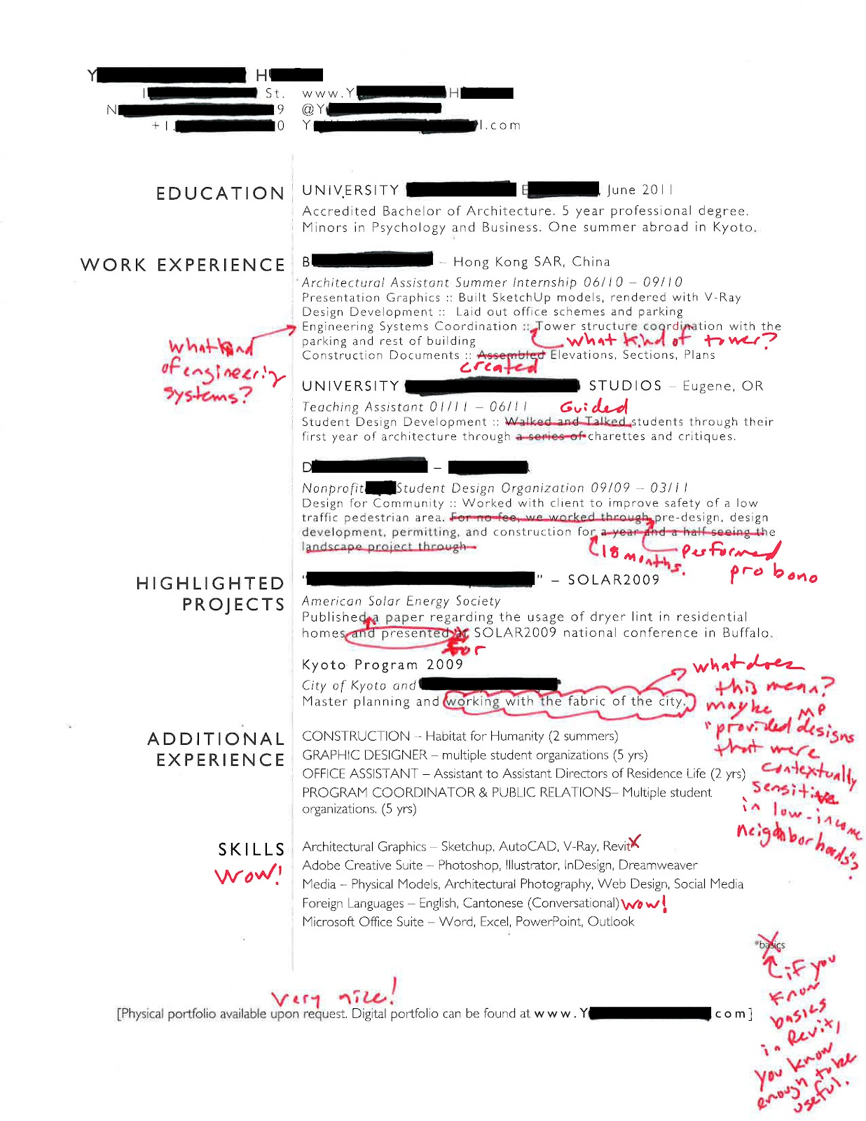 Intern 101  International Experience Resume