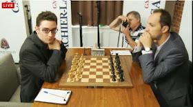L'Italien Fabiano Caruana face à Topalov lors de la ronde 6 - capture d'écran du Live © Chess & Strategy