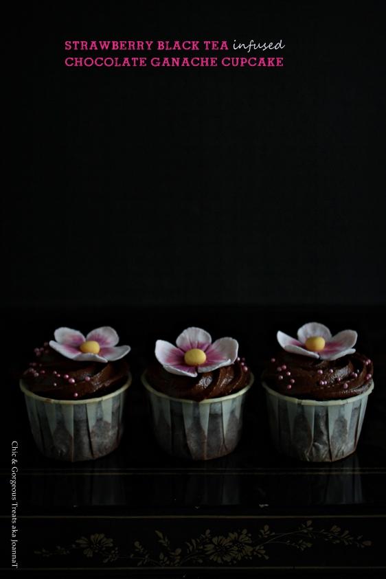 strawberry black tea infused chocolate ganache cupcake