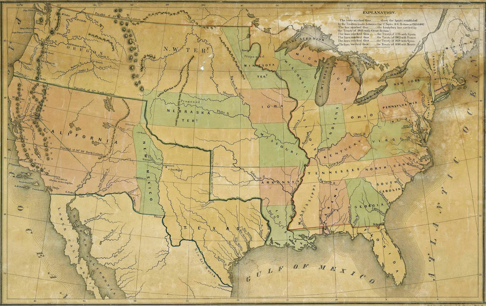 Antique Prints Blog April - Map of the us in 1840