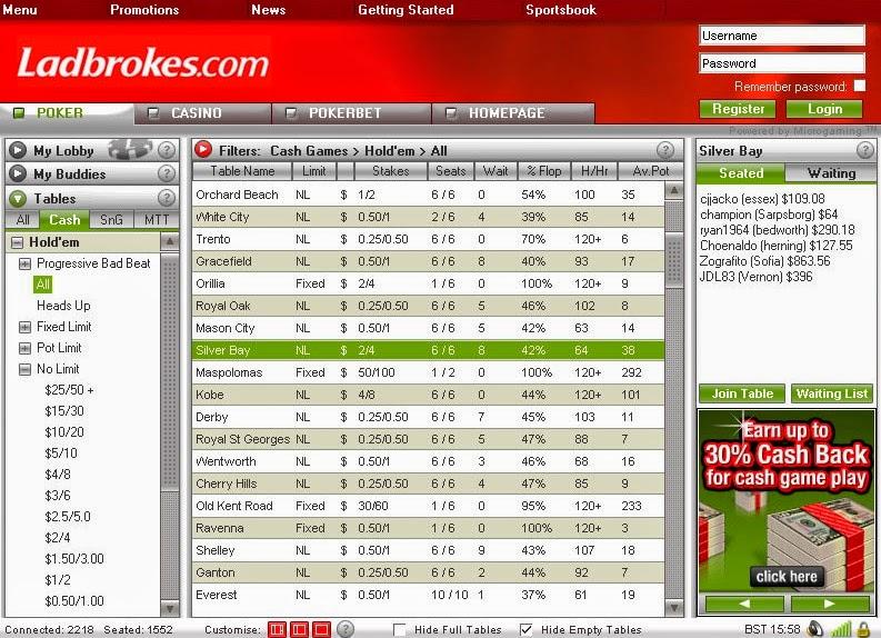 Ladbrokes Poker Games Screen