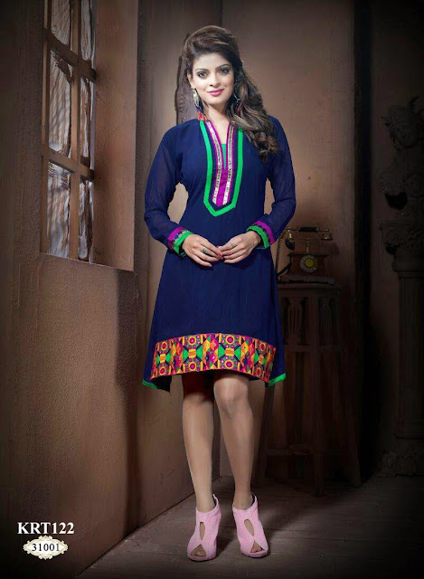 Awesome Georgette Stylish Neck Kurti – Supplier