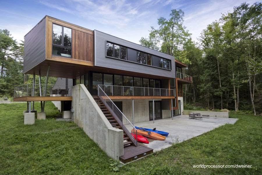 Casa volada de concreto madera y acero en Massachusetts