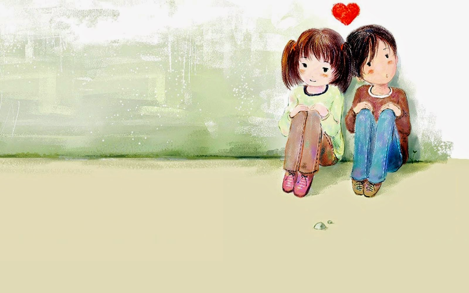 Cute Little Cartoon Couple In Love HD Wallpaper