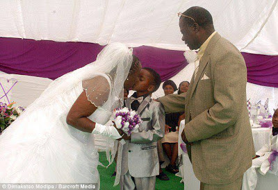 An eight-year-old schoolboy has married a 61-year-old woman