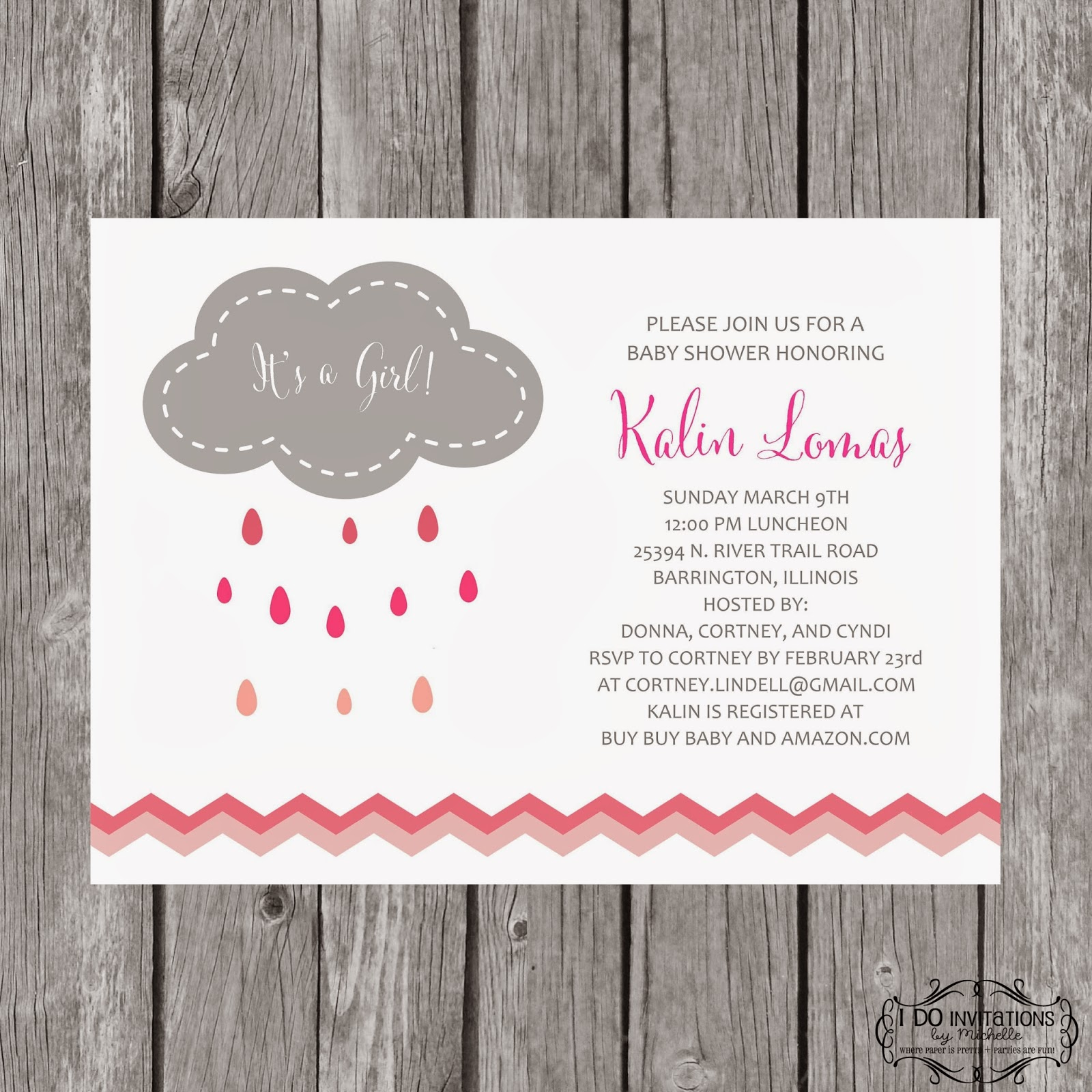 New Rain Cloud Baby Shower Invitations – Ellery Designs