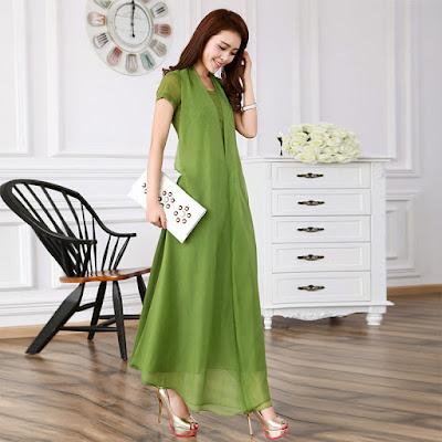 Model Baju Longdress Korea Bahan Sifon Untuk Pesta