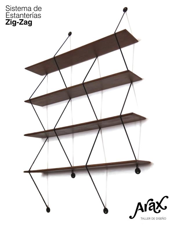 Arax taller de dise o estanteria 39 zig zag 39 - Soportes de estanterias ...