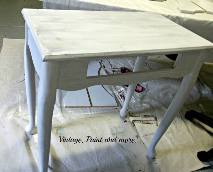 Vintage, Paint and more... desk with primer, painted desk with primer coat