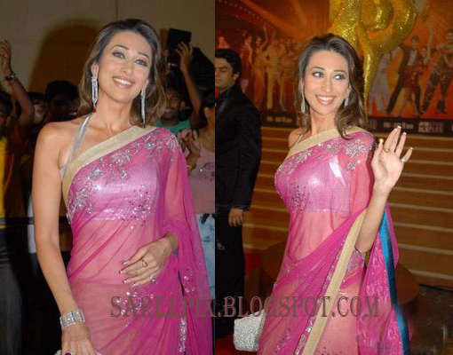 Karishma kapoor in transparent pink saree