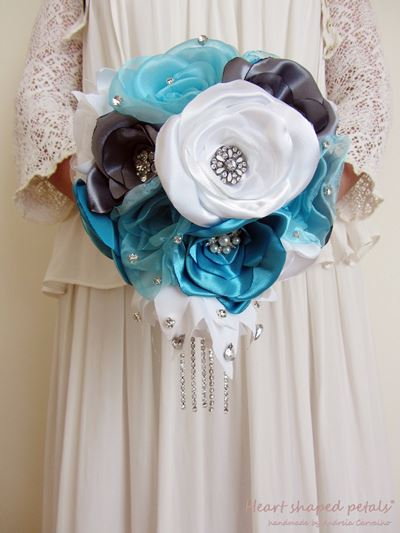 cascading bridal bouquet in fabric with rhinestones
