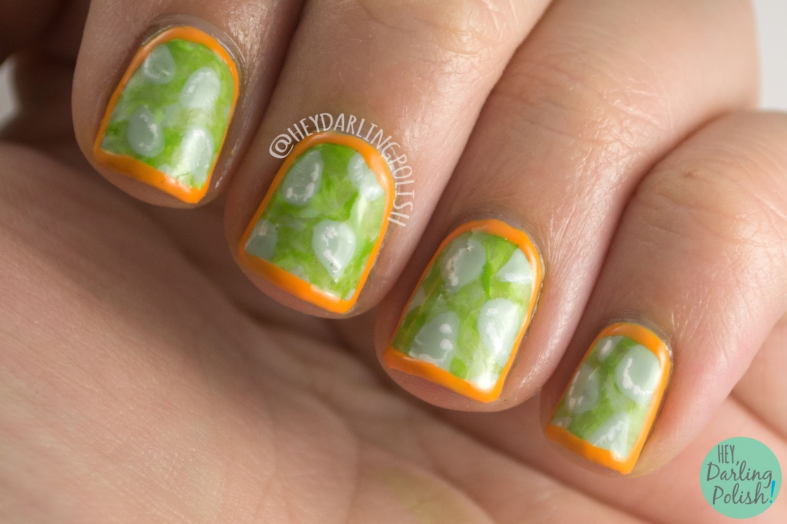 nails, nail art, nail polish, horned melon, fruit, fruit nail art, hey darling polish, oh mon dieu part deux, green, orange, seeds