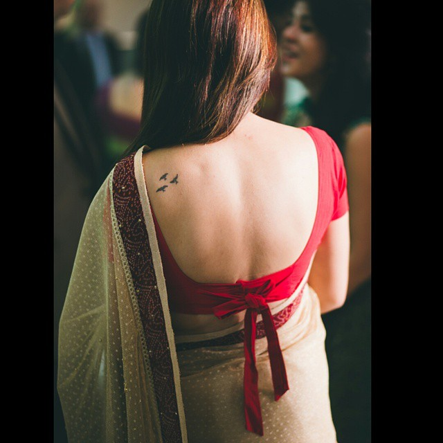 sexy bengali saree back