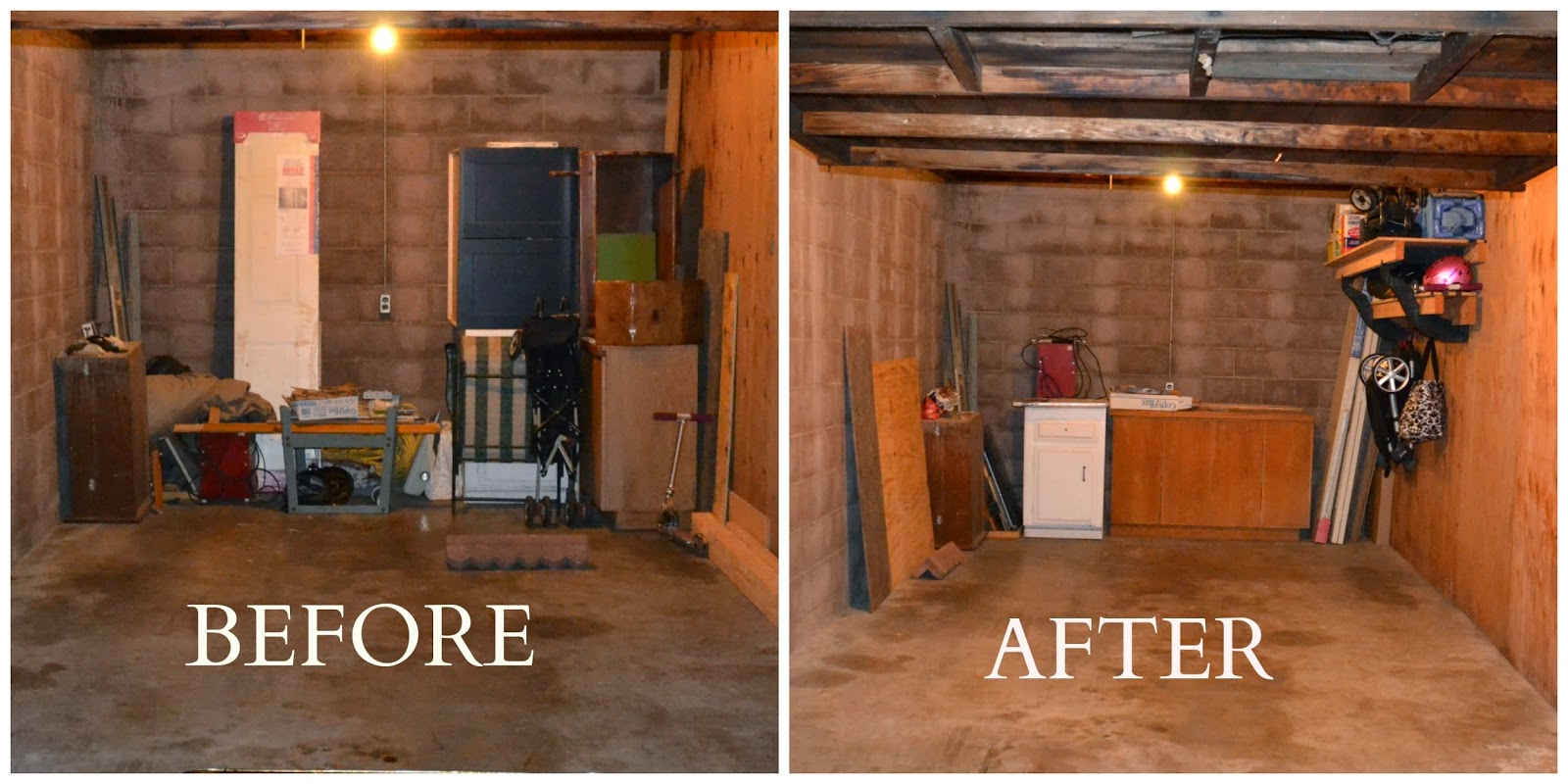 Before and After now an organized garage :: OrganizingMadeFun.com