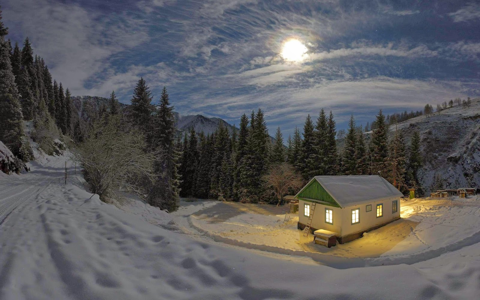 Good Night Mountain Snow Beautiful Nature Images And Wallpapers