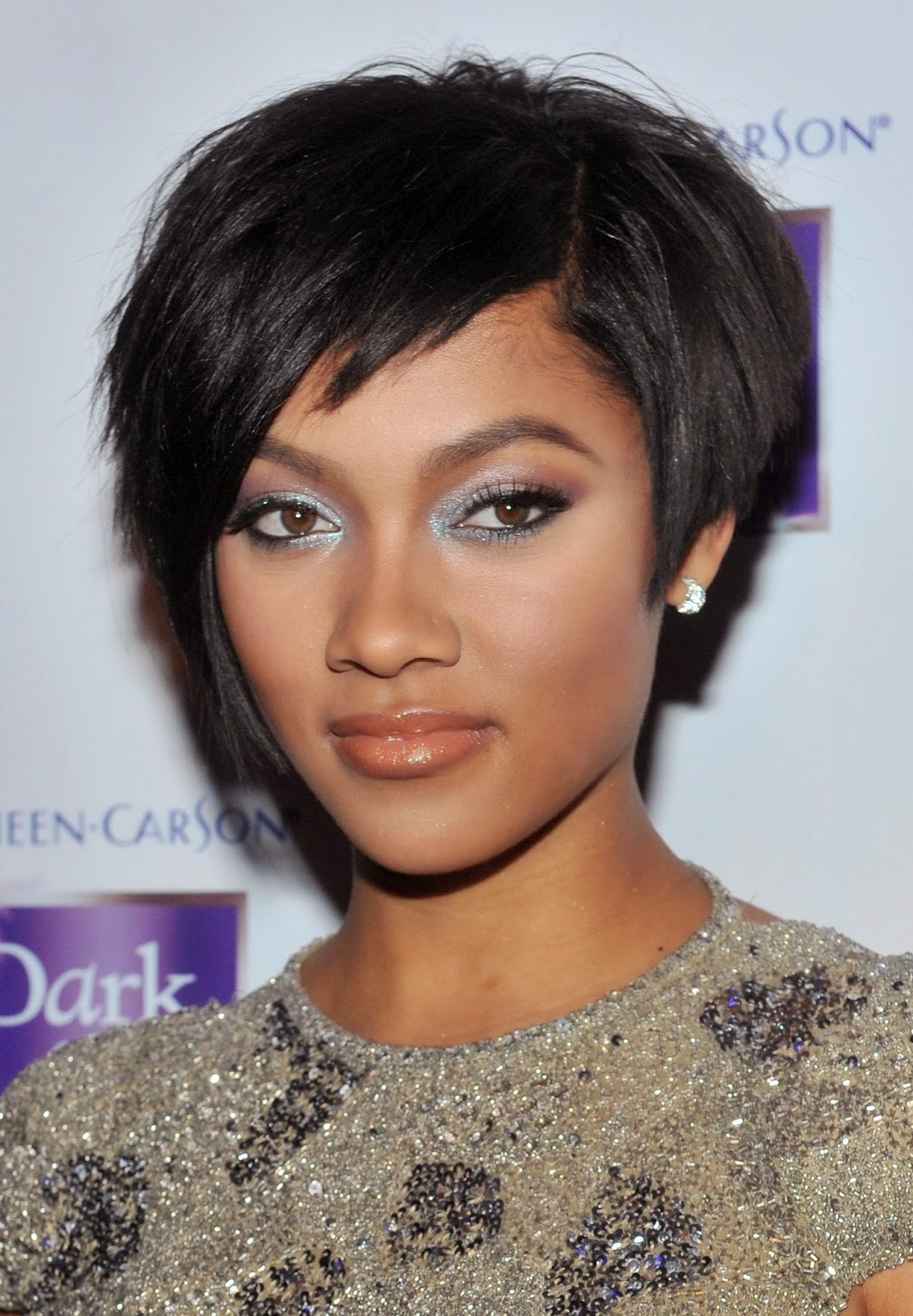 black hair short hairstyles for round faces}