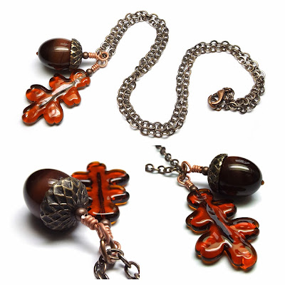 Lampwork glass 'Burnt Sugar' Acorn & Oak Leaf necklace by Laura Sparling