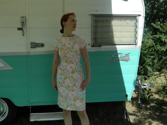 1950s 1960s retro shasta trailer aqua wiggle dress pink palms flamingos  Just Peachy, Darling