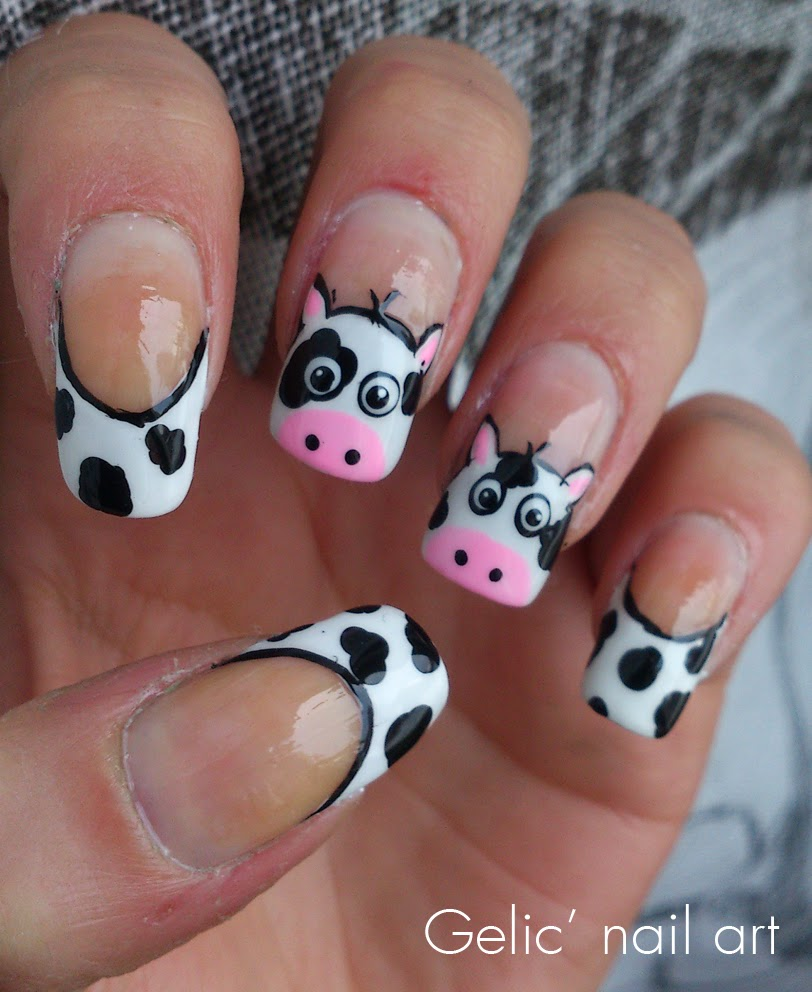 Western Nail Art: Gelic' Nail Art: Cow Funky French Nail Art For The Netherlands
